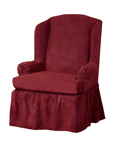 Sure Fit Luxury Suede One-Piece Relaxed Fit Wing Chair Slipcover-CRIMSON-One Size