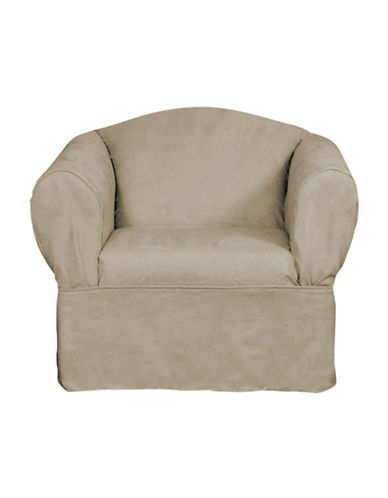 Sure Fit Luxury Suede One-Piece Relaxed Fit Chair Slipcover-MINK-One Size