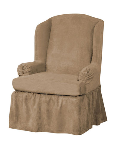 Sure Fit Luxury Suede One-Piece Relaxed Fit Wing Chair Slipcover-MINK-One Size
