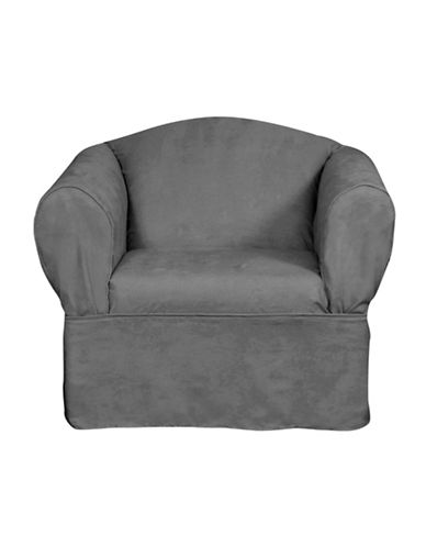 Sure Fit Luxury Suede One-Piece Relaxed Fit Chair Slipcover-SLATE-One Size