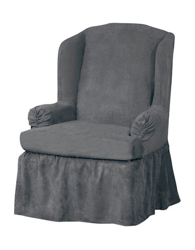 Sure Fit Luxury Suede One-Piece Relaxed Fit Wing Chair Slipcover-SLATE-One Size
