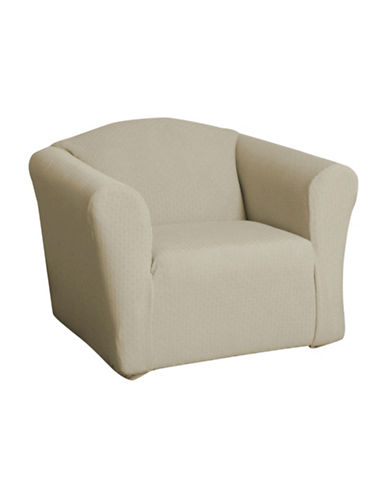 Sure Fit Piccadilly One-Piece Velvet Embossed Stretch Chair Slipcover-BIRCH-One Size