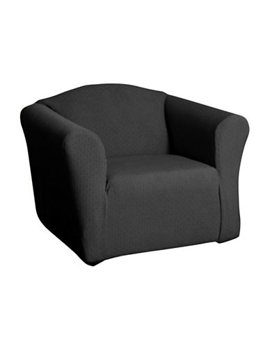 Sure Fit Piccadilly One-Piece Velvet Embossed Stretch Chair Slipcover-SLATE-One Size