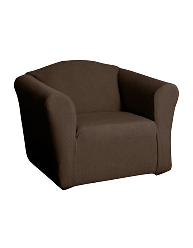 Sure Fit Piccadilly One-Piece Velvet Embossed Stretch Chair Slipcover-CHESTNUT-One Size