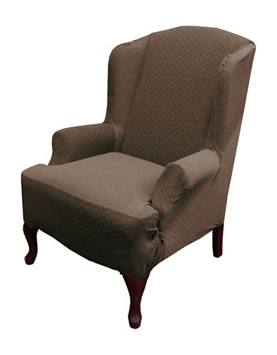 Sure Fit Piccadilly One-Piece Velvet Embossed Wing Chair Slipcover-CHESTNUT-One Size