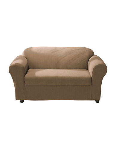 Sure Fit Spencer Two-Piece Stretch Loveseat Slipcover-BISCUIT-One Size
