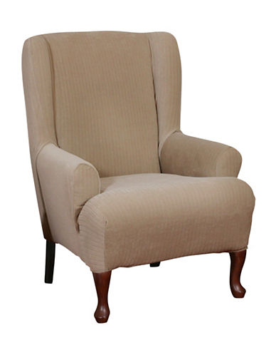 Sure Fit Spencer One-Piece Stretch Wing Chair Slipcover-BISCUIT-One Size