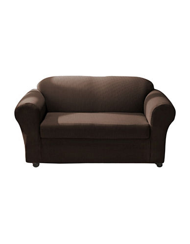 Sure Fit Spencer Two-Piece Stretch Loveseat Slipcover-BARK-One Size