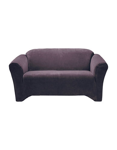 Sure Fit Hanover One-Piece Stretch Loveseat Slipcover-AUBERGINE-One Size