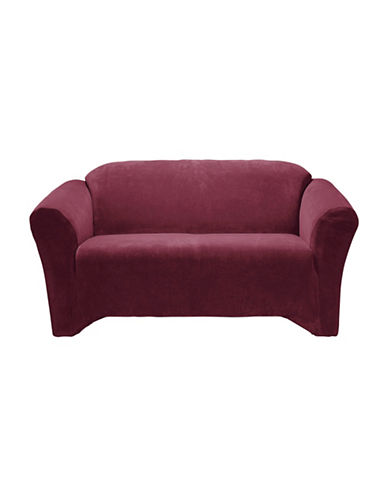 Sure Fit Hanover One-Piece Stretch Loveseat Slipcover-MERLOT-One Size