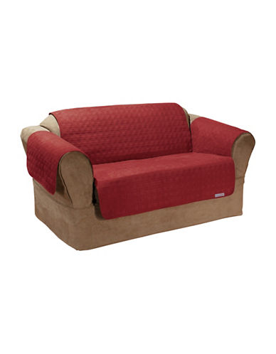 Sure Fit QuickCover Studio Size Quilted Microsuede Loveseat Protector-MERLOT-One Size