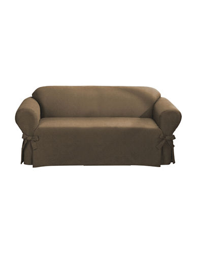 Sure Fit Surefit Bruce Suede One-Piece Sofa Slipcover-BISCUIT-One Size