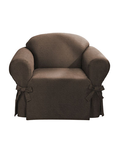 Sure Fit Surefit Bruce Suede One-Piece Chair Slipcover-CHOCOLATE-One Size