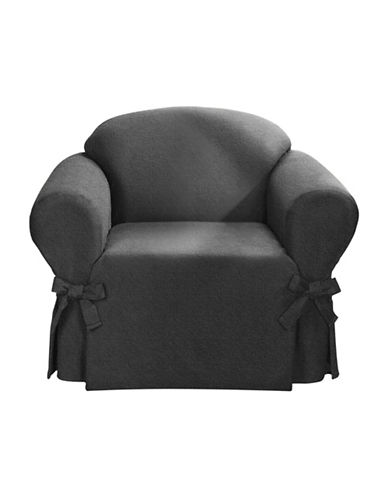 Sure Fit Surefit Bruce Suede One-Piece Chair Slipcover-GREY-One Size