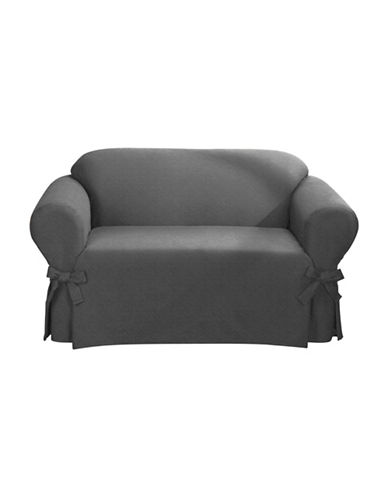 Sure Fit Surefit Bruce Suede One-Piece Loveseat Slipcover-GREY-One Size