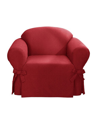 Sure Fit Surefit Bruce Suede One-Piece Chair Slipcover-RED-One Size