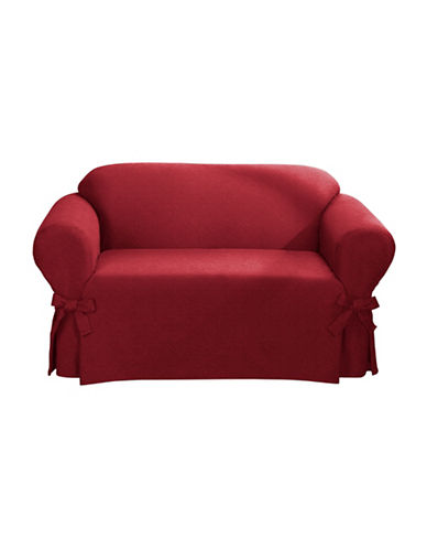 Sure Fit Surefit Bruce Suede One-Piece Loveseat Slipcover-RED-One Size