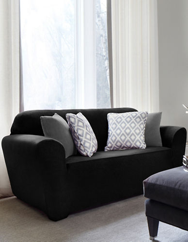 Sure Fit Maude One-Piece Soft Velvet Stretch Loveseat Slipcover-NOIR-One Size