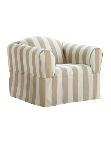 Sure Fit Surefit Cabana Stripe One-Piece Chair Slipcover-BONE-One Size