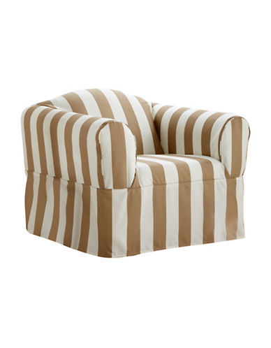 Sure Fit Surefit Cabana Stripe One-Piece Chair Slipcover-BISCUIT-One Size
