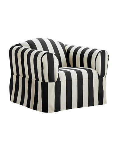 Sure Fit Surefit Cabana Stripe One-Piece Chair Slipcover-BLACK-One Size