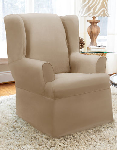 Sure Fit Twill Wrap Style Wing Chair Slipcover-BONE-One Size