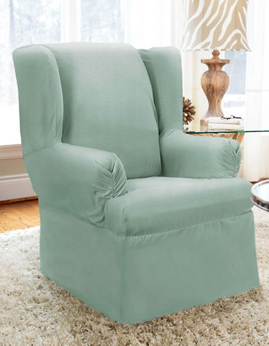 Sure Fit Twill Wrap Style Wing Chair Slipcover-SEAGLASS-One Size