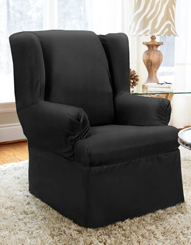 Sure Fit Twill Wrap Style Wing Chair Slipcover-NOIR-One Size
