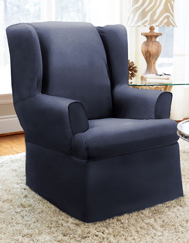 Sure Fit Twill Wrap Style Wing Chair Slipcover-INDIGO-One Size