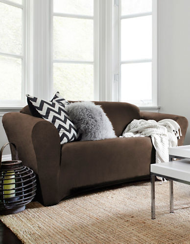 Sure Fit Harlow One-Piece Stretch Sofa Slipcover-BARK-One Size
