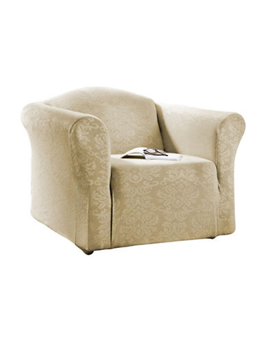 Sure Fit Surefit Damask Stretch Chair Slipcover-TAUPE-One Size