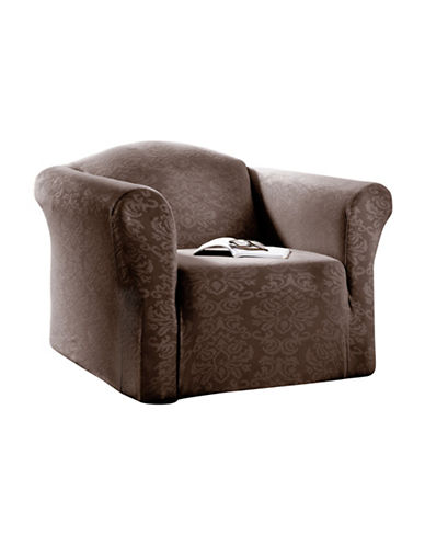 Sure Fit Surefit Damask Stretch Chair Slipcover-BARK-One Size