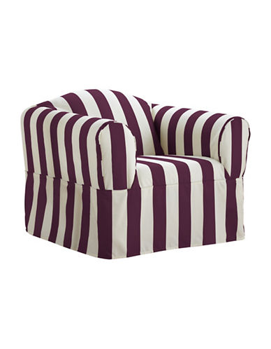 Sure Fit Surefit Cabana Stripe One-Piece Chair Slipcover-BOYSENBERRY-One Size