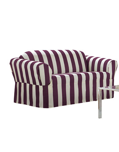 Sure Fit Surefit Cabana Stripe One-Piece Sofa Slipcover-BOYSENBERRY-One Size