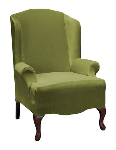 Sure Fit Eastwood One-Piece Stretch Wing Chair Slipcover-MOSS-One Size