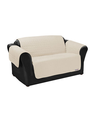 Sure Fit QuickCover for Leather Premium Microsuede Loveseat Protector-BONE-One Size