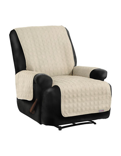 Sure Fit QuickCover Premium Quilted Microsuede Recliner Protector-BONE-One Size