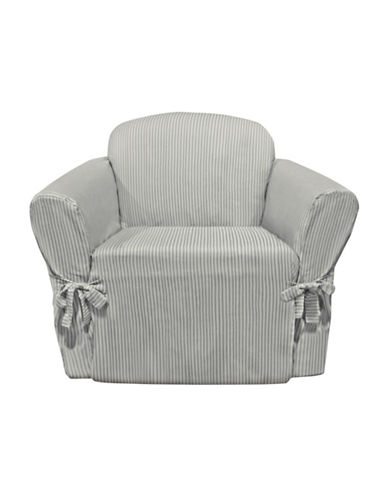 Sure Fit Muskoka Stripe One-Piece Chair Slipcover-SLATE-One Size