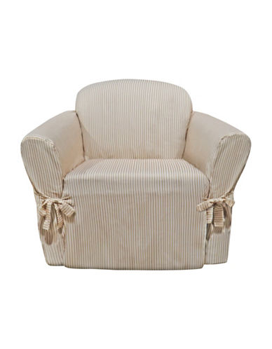 Sure Fit Muskoka Stripe One-Piece Chair Slipcover-TAUPE-One Size