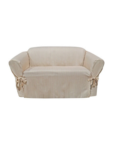 Sure Fit Muskoka Stripe One-Piece Loveseat Slipcover-TAUPE-One Size