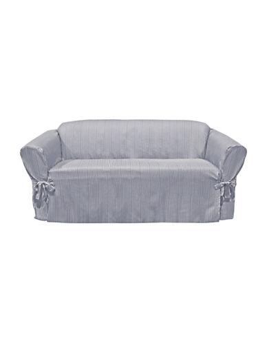 Sure Fit Muskoka Stripe One-Piece Sofa Slipcover-PERIWINKLE-One Size
