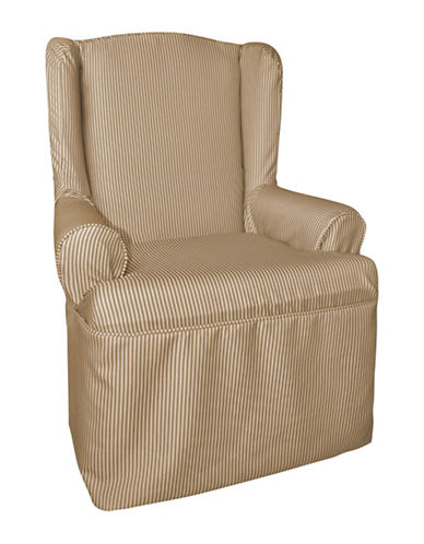 Sure Fit Muskoka Stripe One-Piece Wing Chair Slipcover-TAUPE-One Size
