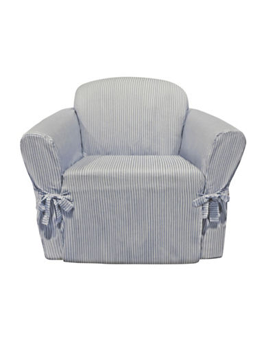 Sure Fit Muskoka Stripe One-Piece Chair Slipcover-PERIWINKLE-One Size