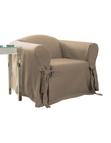 Sure Fit Muskoka One-Piece Chair Slipcover-TAUPE-One Size