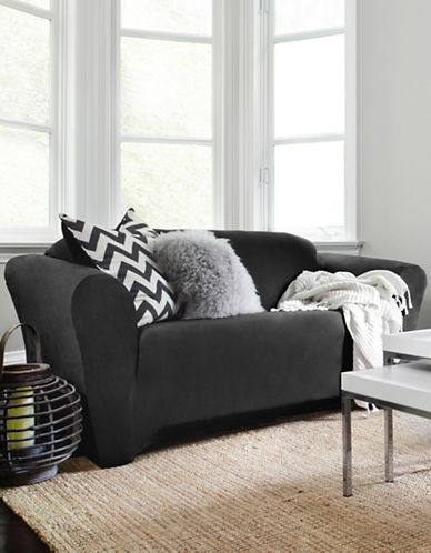 Sure Fit Harlow Loveseat Slipcover-NOIR-One Size