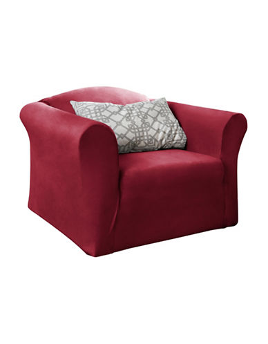 Sure Fit Harlow One-Piece Stretch Chair Slipcover-MERLOT-One Size