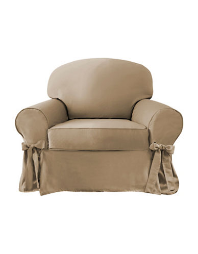 Sure Fit Portland Two-Piece with Ties Chair Slipcover-TAUPE-One Size