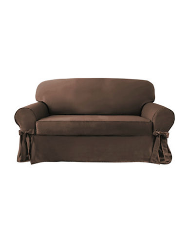 Sure Fit Portland Two-Piece with Ties Loveseat Slipcover-CHOCOLATE-One Size