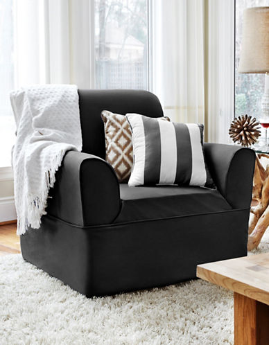 Sure Fit Dorchester Wrap-Style Chair Slipcover-EBONY-One Size