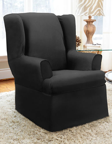 Sure Fit Dorchester Button-Style Wing Chair Slipcover-EBONY-One Size